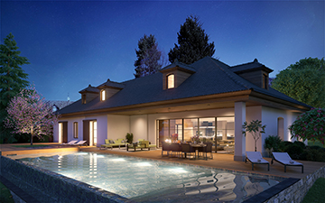 Digital 3D image of a luxurious home and swimming-pool